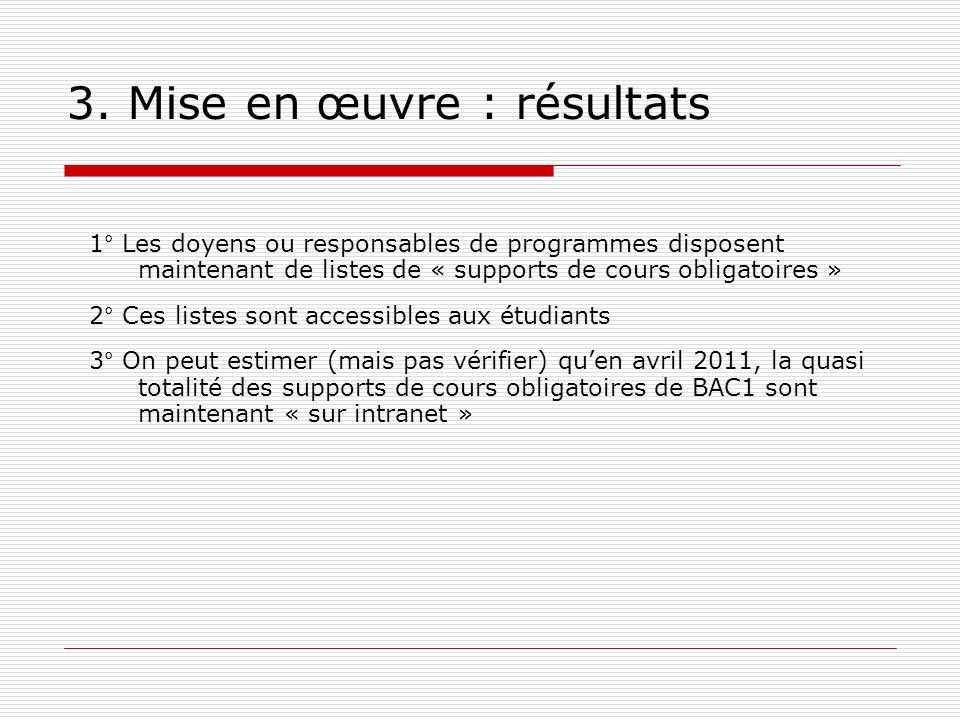 3. Mise en œuvre : résultats 1° Les doyens ou responsables de programmes disposent maintenant de listes de « supports de cours obligatoires » 2° Ces l