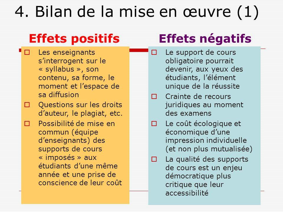 4. Bilan de la mise en œuvre (1) Effets positifs Les enseignants sinterrogent sur le « syllabus », son contenu, sa forme, le moment et lespace de sa d