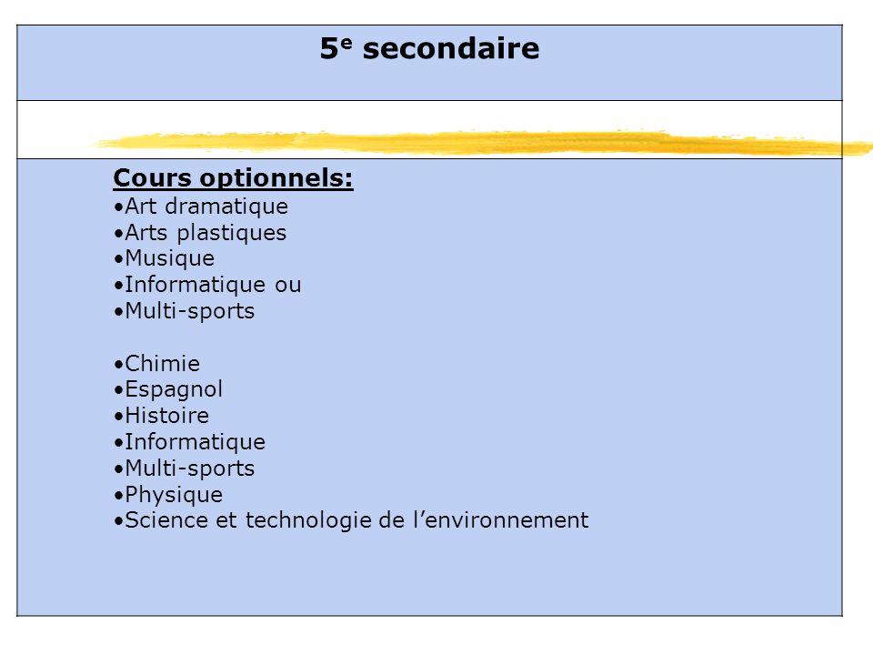 5 e secondaire Cours optionnels: Art dramatique Arts plastiques Musique Informatique ou Multi-sports Chimie Espagnol Histoire Informatique Multi-sports Physique Science et technologie de lenvironnement