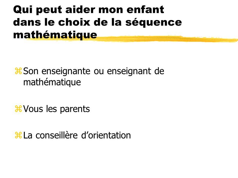 Quels sont les facteurs à prendre en considération pour faire un choix éclairé: zSes résultats en mathématique zLa portée postsecondaire des séquences (ce que votre enfant veut faire plus tard) zSes forces, ses intérêts zSon degré dautonomie zSes motivations zSa persévérance