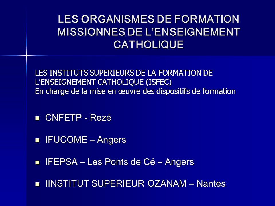 LES ORGANISMES DE FORMATION MISSIONNES DE LENSEIGNEMENT CATHOLIQUE LES INSTITUTS SUPERIEURS DE LA FORMATION DE LENSEIGNEMENT CATHOLIQUE (ISFEC) En cha