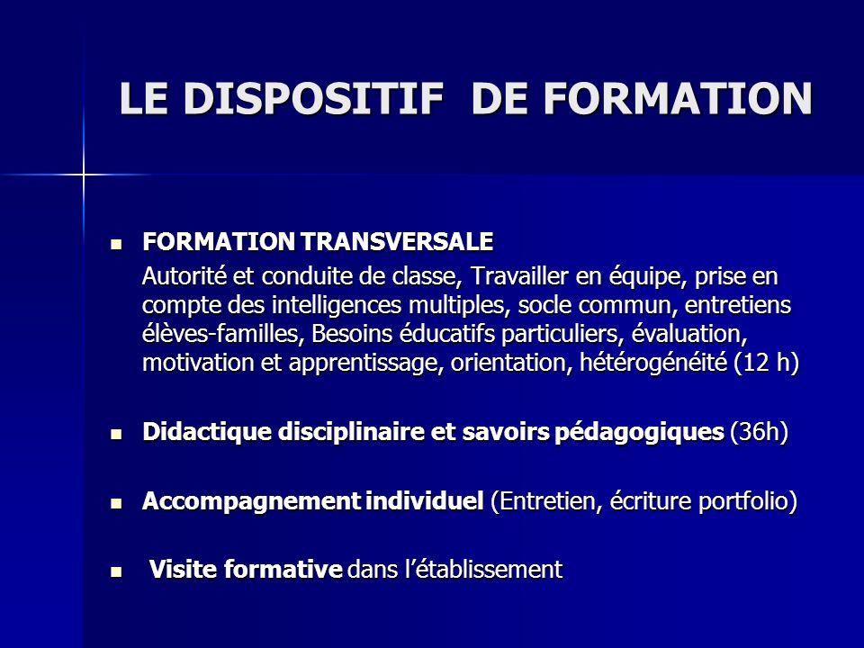 LE DISPOSITIF DE FORMATION FORMATION FORMATION TRANSVERSALE Autorité et conduite de classe, Travailler en équipe, prise en compte des intelligences mu