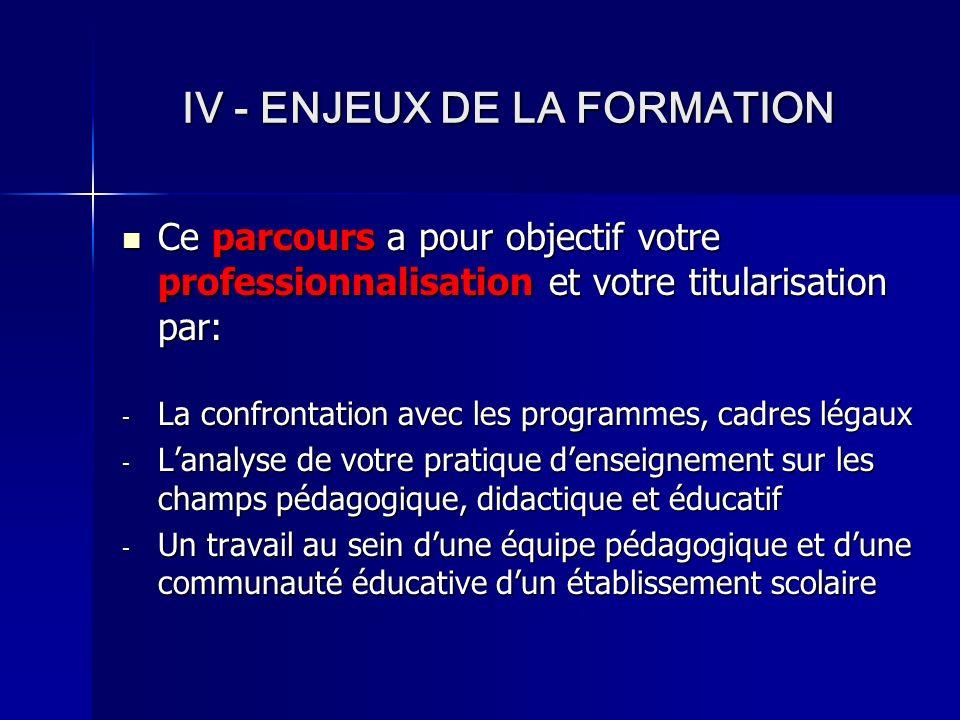 ENJEUX DE LA FORMATION UN PARCOURS DE PROFESSIONNALISATION POUR… Construire des compétences professionnelles (Cf.