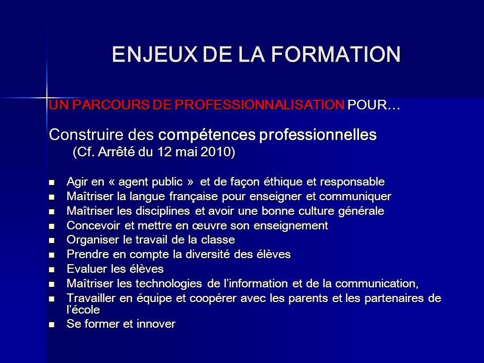 ENJEUX DE LA FORMATION UN PARCOURS DE PROFESSIONNALISATION POUR… Construire des compétences professionnelles (Cf. Arrêté du 12 mai 2010) Agir Agir en