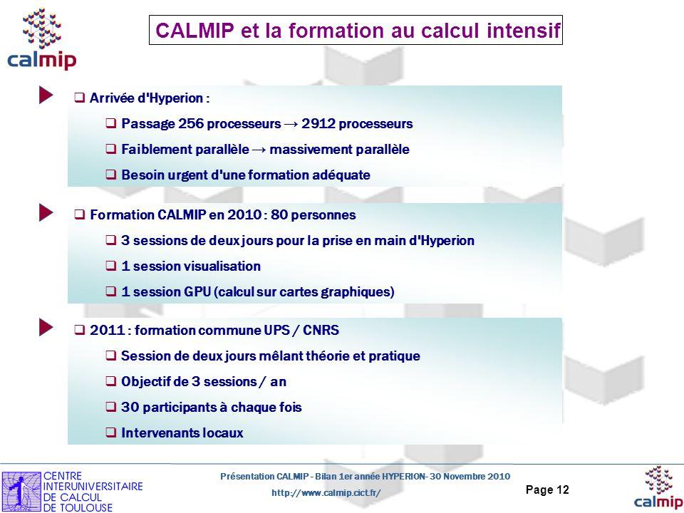http://www.calmip.cict.fr/ Présentation CALMIP - Bilan 1er année HYPERION- 30 Novembre 2010 Page 12 CALMIP et la formation au calcul intensif Formation CALMIP en 2010 : 80 personnes 3 sessions de deux jours pour la prise en main d Hyperion 1 session visualisation 1 session GPU (calcul sur cartes graphiques) 2011 : formation commune UPS / CNRS Session de deux jours mêlant théorie et pratique Objectif de 3 sessions / an 30 participants à chaque fois Intervenants locaux Arrivée d Hyperion : Passage 256 processeurs 2912 processeurs Faiblement parallèle massivement parallèle Besoin urgent d une formation adéquate