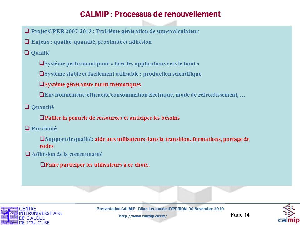 http://www.calmip.cict.fr/ Présentation CALMIP - Bilan 1er année HYPERION- 30 Novembre 2010 Page 14 CALMIP : Processus de renouvellement Projet CPER 2