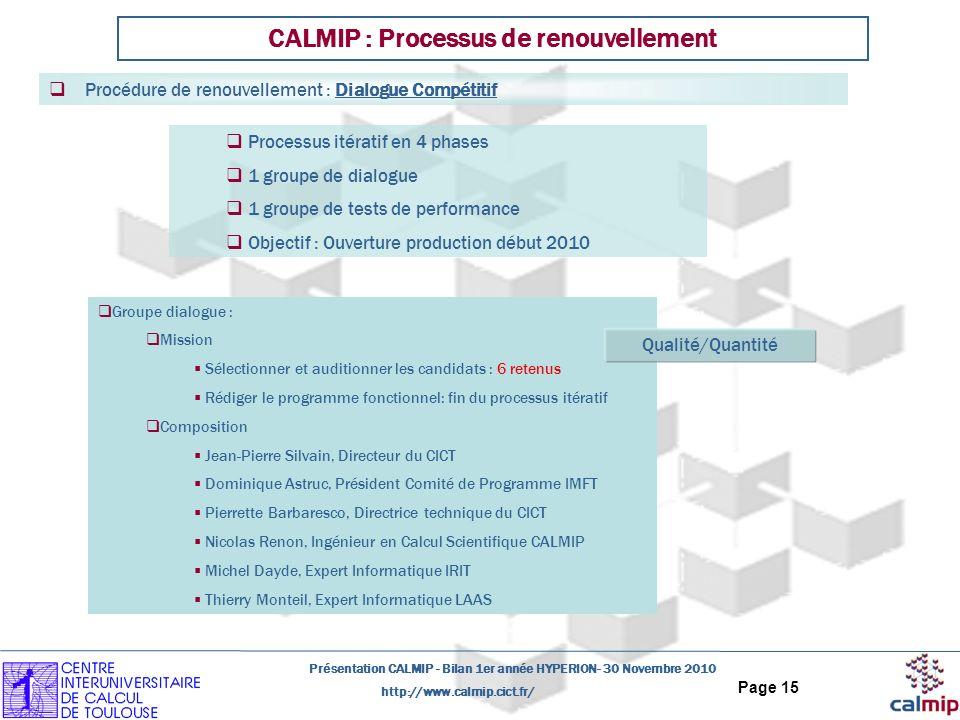 http://www.calmip.cict.fr/ Présentation CALMIP - Bilan 1er année HYPERION- 30 Novembre 2010 Page 15 Processus itératif en 4 phases 1 groupe de dialogu