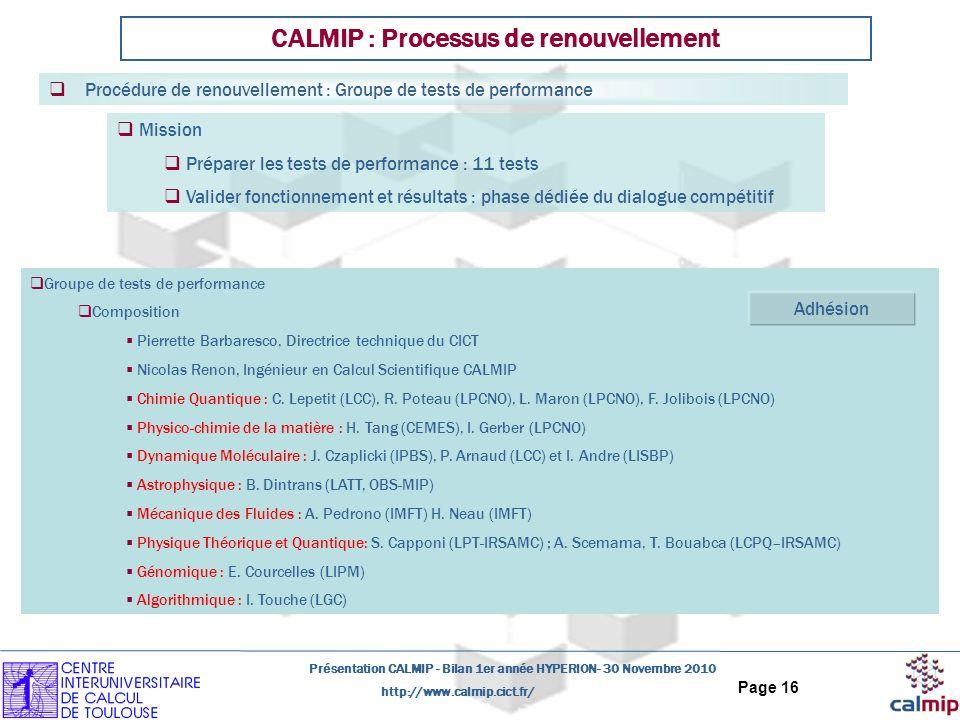 http://www.calmip.cict.fr/ Présentation CALMIP - Bilan 1er année HYPERION- 30 Novembre 2010 Page 16 Groupe de tests de performance Composition Pierret