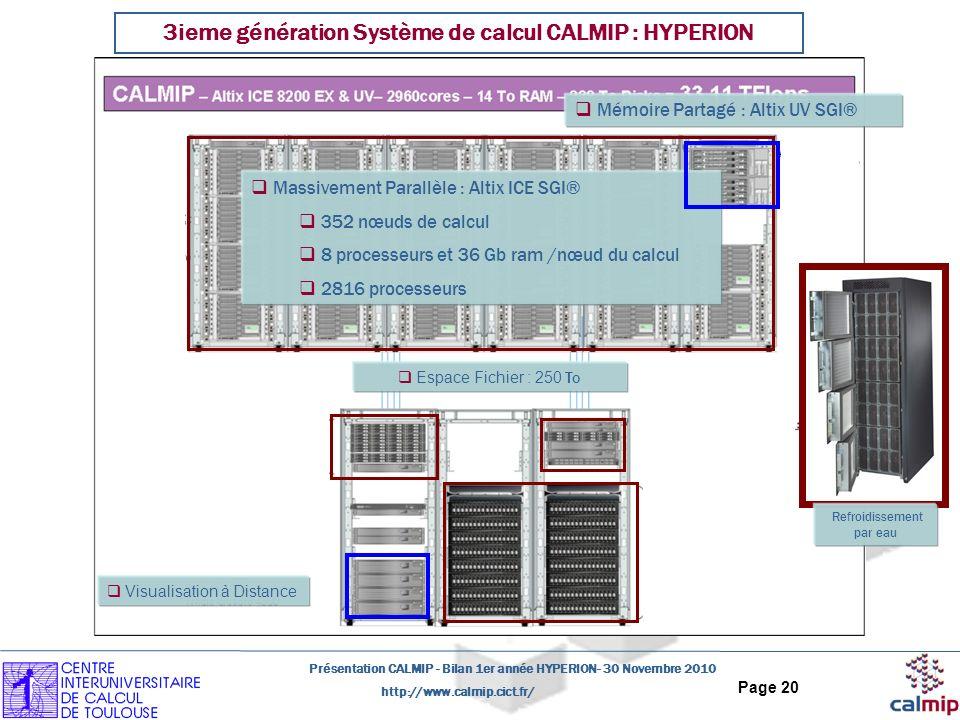 http://www.calmip.cict.fr/ Présentation CALMIP - Bilan 1er année HYPERION- 30 Novembre 2010 Page 20 3ieme génération Système de calcul CALMIP : HYPERION Massivement Parallèle : Altix ICE SGI® 352 nœuds de calcul 8 processeurs et 36 Gb ram /nœud du calcul 2816 processeurs Espace Fichier : 250 To Mémoire Partagé : Altix UV SGI® Refroidissement par eau Visualisation à Distance