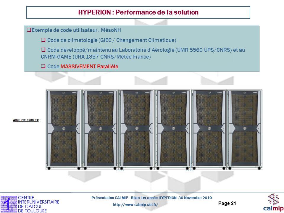 http://www.calmip.cict.fr/ Présentation CALMIP - Bilan 1er année HYPERION- 30 Novembre 2010 Page 21 HYPERION : Performance de la solution Exemple de code utilisateur : MésoNH Code de climatologie (GIEC / Changement Climatique) Code développé/maintenu au Laboratoire dAérologie (UMR 5560 UPS/CNRS) et au CNRM-GAME (URA 1357 CNRS/Météo-France) Code MASSIVEMENT Parallèle