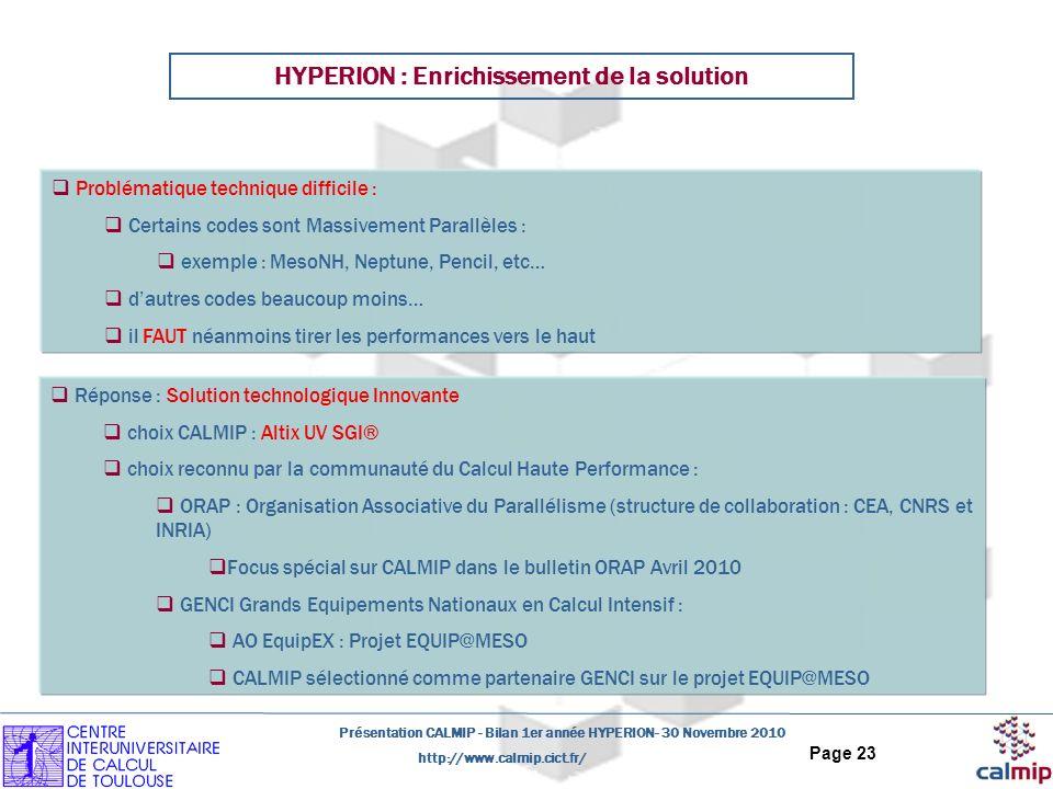 http://www.calmip.cict.fr/ Présentation CALMIP - Bilan 1er année HYPERION- 30 Novembre 2010 Page 23 Problématique technique difficile : Certains codes