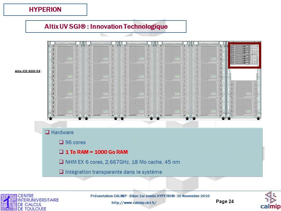 http://www.calmip.cict.fr/ Présentation CALMIP - Bilan 1er année HYPERION- 30 Novembre 2010 Page 24 HYPERION Hardware 96 cores 1 To RAM = 1000 Go RAM NHM EX 6 cores, 2,667GHz, 18 Mo cache, 45 nm Intégration transparente dans le système Altix UV SGI® : Innovation Technologique