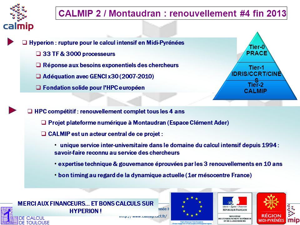 http://www.calmip.cict.fr/ Présentation CALMIP - Bilan 1er année HYPERION- 30 Novembre 2010 Page 26 Hyperion : rupture pour le calcul intensif en Midi-Pyrénées 33 TF & 3000 processeurs Réponse aux besoins exponentiels des chercheurs Adéquation avec GENCI x30 (2007-2010) Fondation solide pour l HPC européen Tier-0 PRACE Tier-1 IDRIS/CCRT/CINE S Tier-2 CALMIP CALMIP 2 / Montaudran : renouvellement #4 fin 2013 HPC compétitif : renouvellement complet tous les 4 ans Projet plateforme numérique à Montaudran (Espace Clément Ader) CALMIP est un acteur central de ce projet : unique service inter-universitaire dans le domaine du calcul intensif depuis 1994 : savoir-faire reconnu au service des chercheurs expertise technique & gouvernance éprouvées par les 3 renouvellements en 10 ans bon timing au regard de la dynamique actuelle (1er mésocentre France) MERCI AUX FINANCEURS...