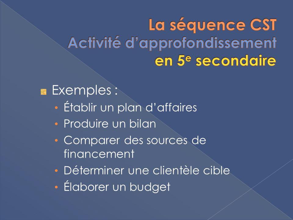 Exemples : Établir un plan daffaires Produire un bilan Comparer des sources de financement Déterminer une clientèle cible Élaborer un budget