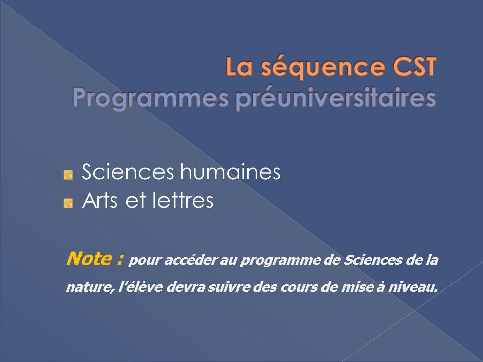 Sciences humaines Arts et lettres Note : pour accéder au programme de Sciences de la nature, lélève devra suivre des cours de mise à niveau.