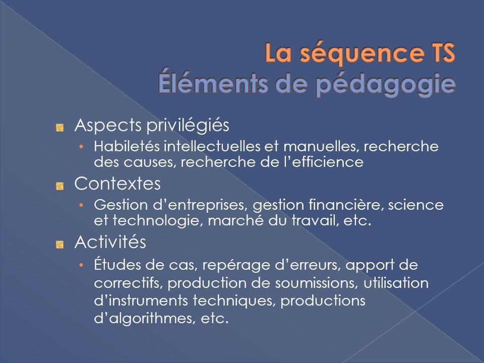 Aspects privilégiés Habiletés intellectuelles et manuelles, recherche des causes, recherche de lefficience Contextes Gestion dentreprises, gestion fin