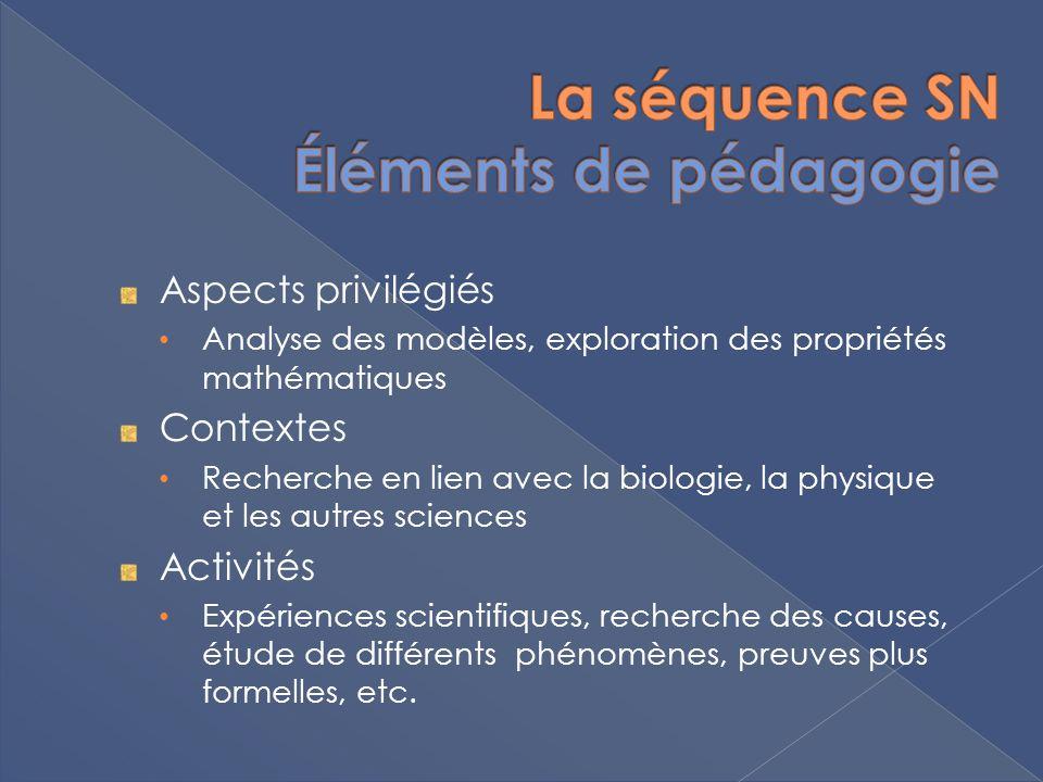 Aspects privilégiés Analyse des modèles, exploration des propriétés mathématiques Contextes Recherche en lien avec la biologie, la physique et les autres sciences Activités Expériences scientifiques, recherche des causes, étude de différents phénomènes, preuves plus formelles, etc.