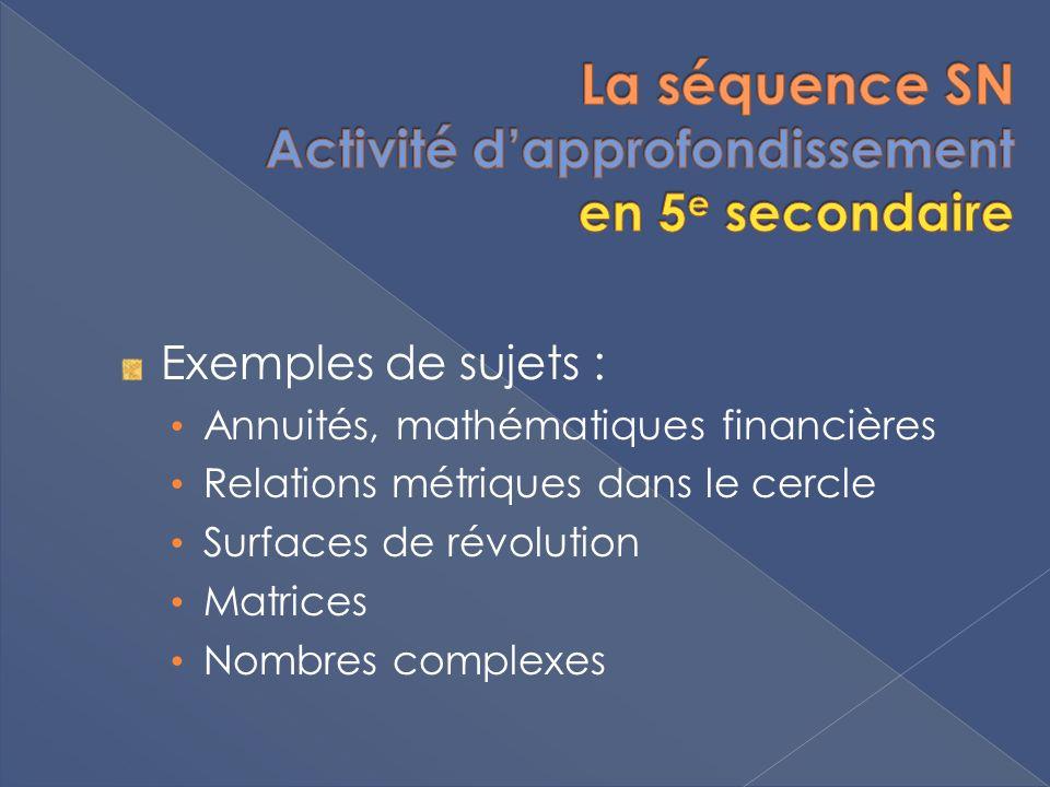 Exemples de sujets : Annuités, mathématiques financières Relations métriques dans le cercle Surfaces de révolution Matrices Nombres complexes