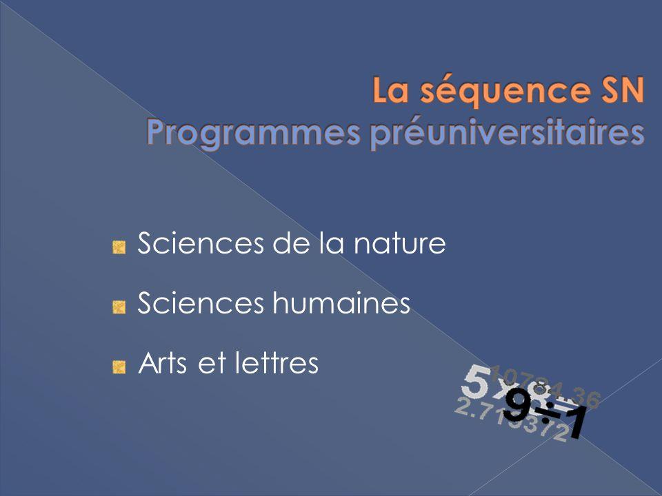 Sciences de la nature Sciences humaines Arts et lettres