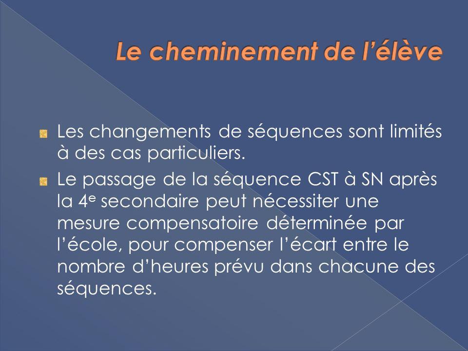 Les changements de séquences sont limités à des cas particuliers. Le passage de la séquence CST à SN après la 4 e secondaire peut nécessiter une mesur