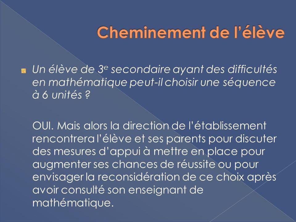 Un élève de 3 e secondaire ayant des difficultés en mathématique peut-il choisir une séquence à 6 unités ? OUI. Mais alors la direction de létablissem