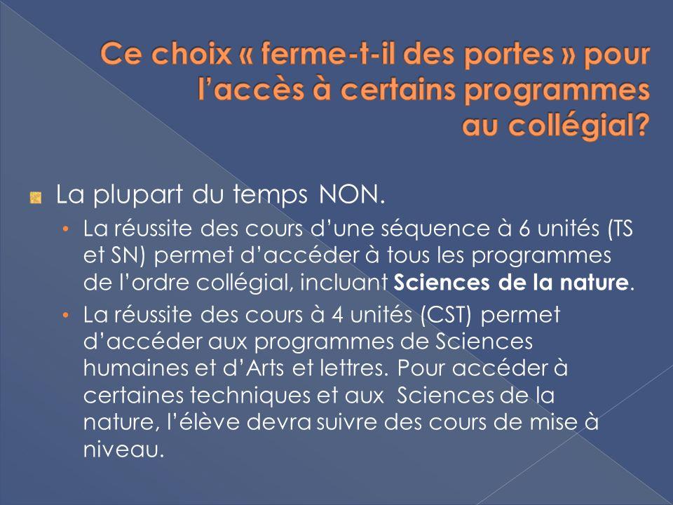 La plupart du temps NON. La réussite des cours dune séquence à 6 unités (TS et SN) permet daccéder à tous les programmes de lordre collégial, incluant