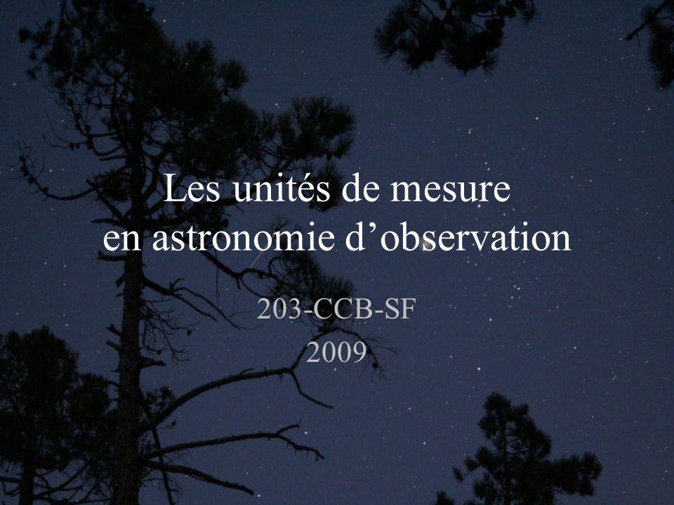 Les unités de mesure en astronomie dobservation 203-CCB-SF 2009