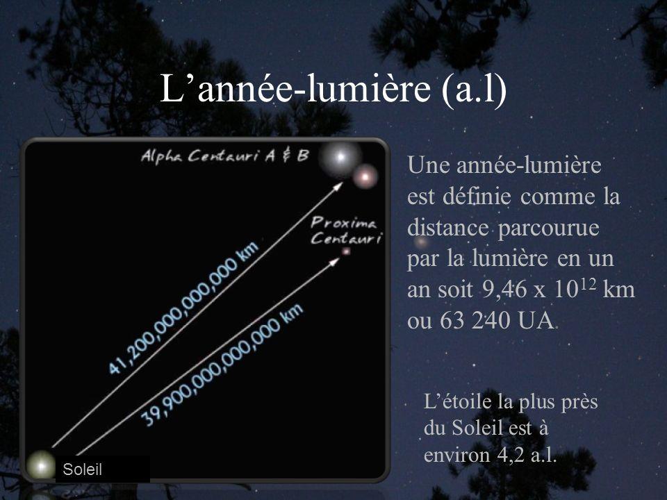 Lannée-lumière (a.l) Soleil Une année-lumière est définie comme la distance parcourue par la lumière en un an soit 9,46 x 10 12 km ou 63 240 UA.