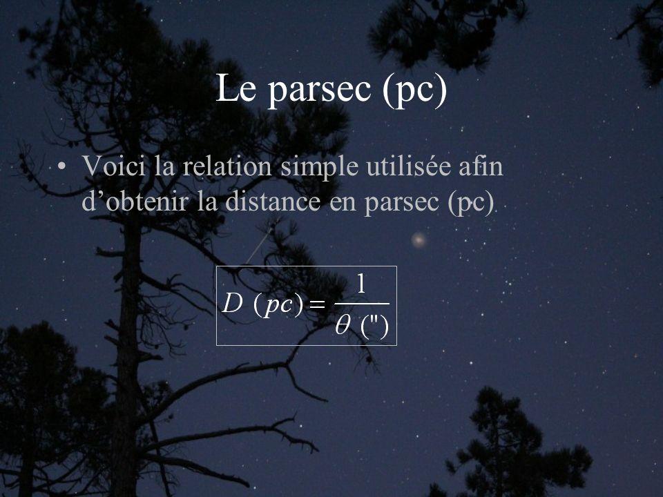 Le parsec (pc) Voici la relation simple utilisée afin dobtenir la distance en parsec (pc)