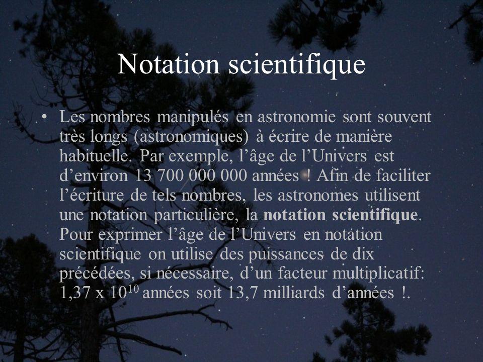 Dimension et distance Sur la Terre, les dimensions sont mesurées en mètre et les distances en km.