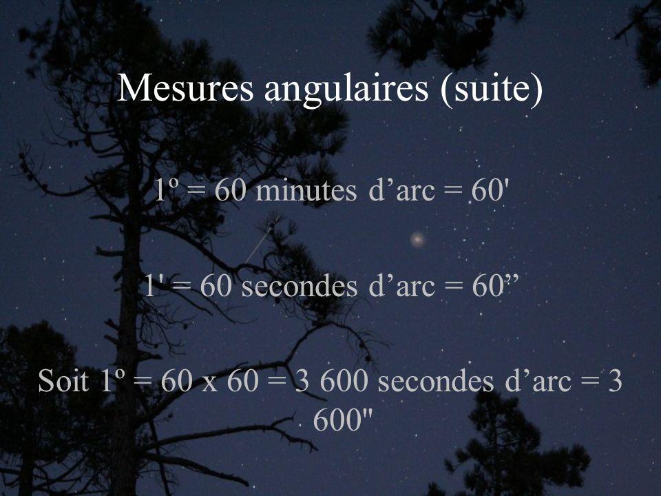 Mesures angulaires (suite) 1º = 60 minutes darc = 60 1 = 60 secondes darc = 60 Soit 1º = 60 x 60 = 3 600 secondes darc = 3 600