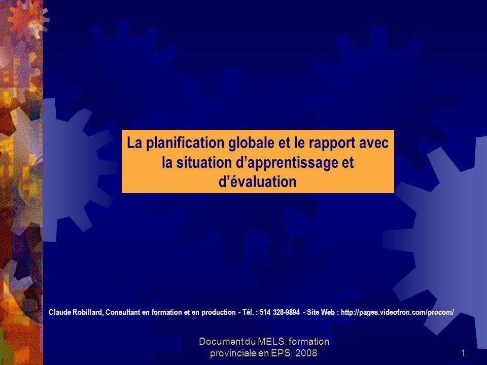 Document du MELS, formation provinciale en EPS, 20081 La planification globale et le rapport avec la situation dapprentissage et dévaluation Claude Robillard, Consultant en formation et en production - Tél.