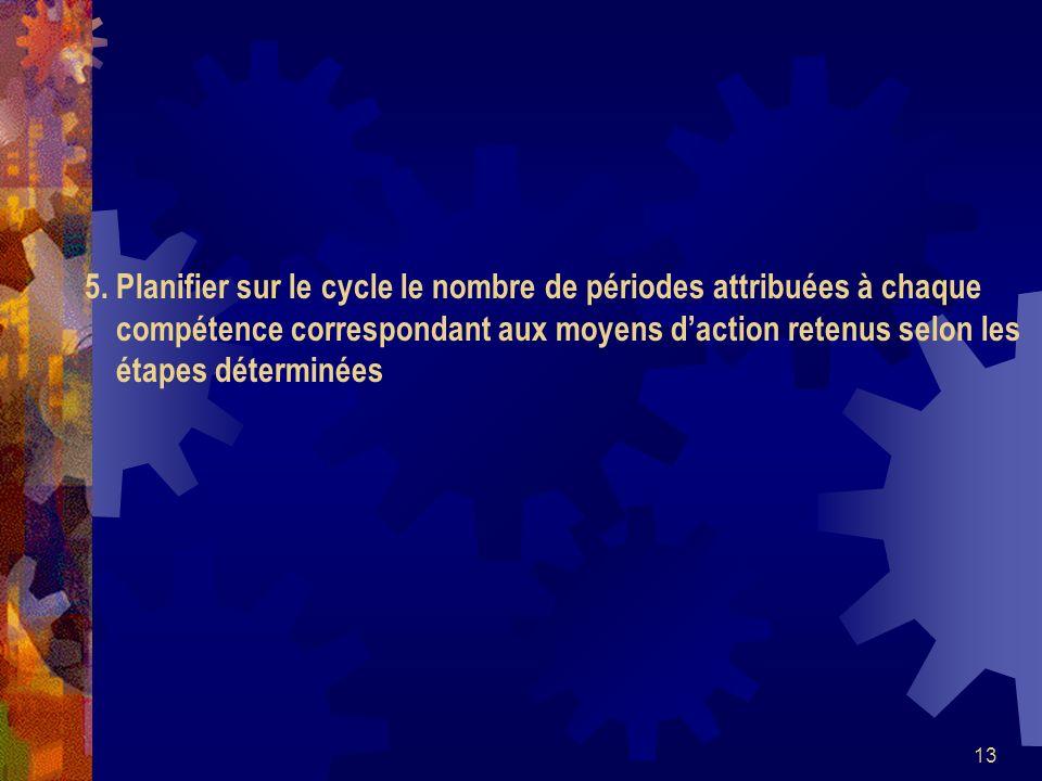 13 5. Planifier sur le cycle le nombre de périodes attribuées à chaque compétence correspondant aux moyens daction retenus selon les étapes déterminée