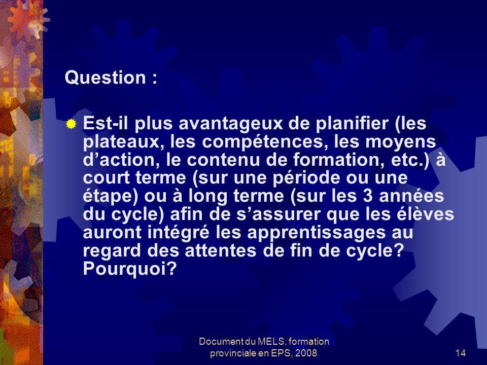 Document du MELS, formation provinciale en EPS, 200814 Question : Est-il plus avantageux de planifier (les plateaux, les compétences, les moyens dacti