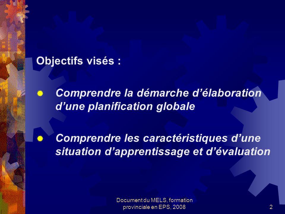 Document du MELS, formation provinciale en EPS, 20082 Objectifs visés : Comprendre la démarche délaboration dune planification globale Comprendre les caractéristiques dune situation dapprentissage et dévaluation