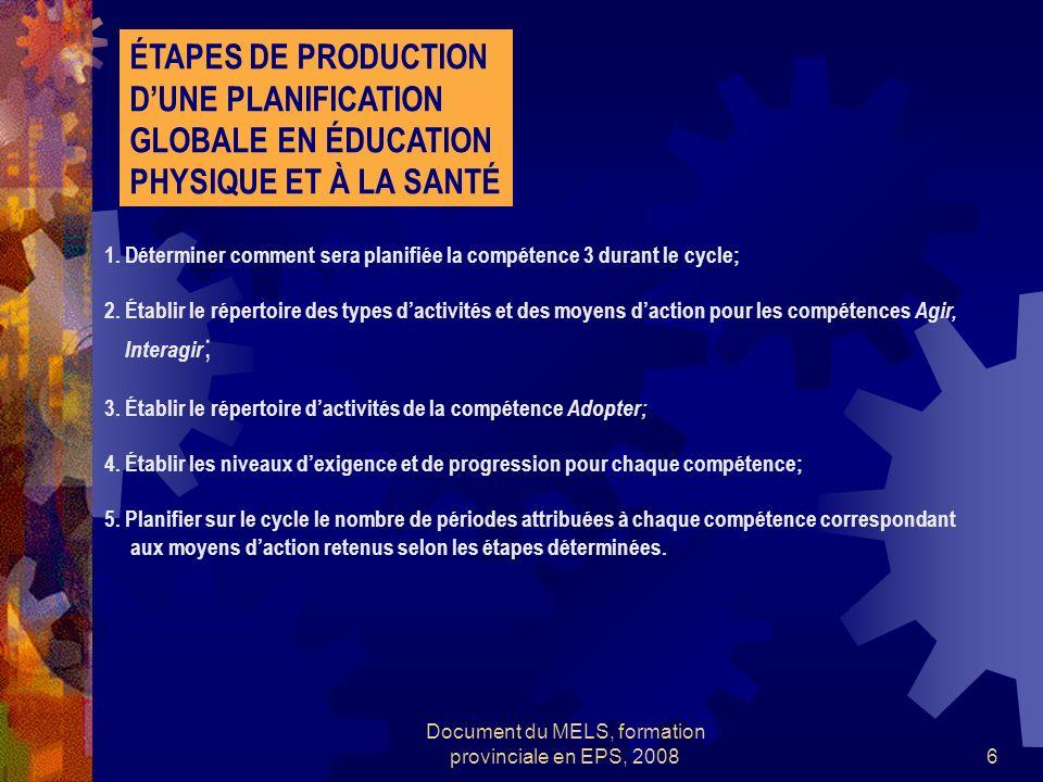 Document du MELS, formation provinciale en EPS, 20086 ÉTAPES DE PRODUCTION DUNE PLANIFICATION GLOBALE EN ÉDUCATION PHYSIQUE ET À LA SANTÉ 1.