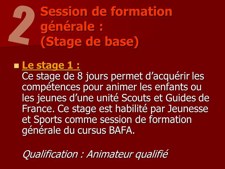 Le stage 1 : Ce stage de 8 jours permet dacquérir les compétences pour animer les enfants ou les jeunes dune unité Scouts et Guides de France.
