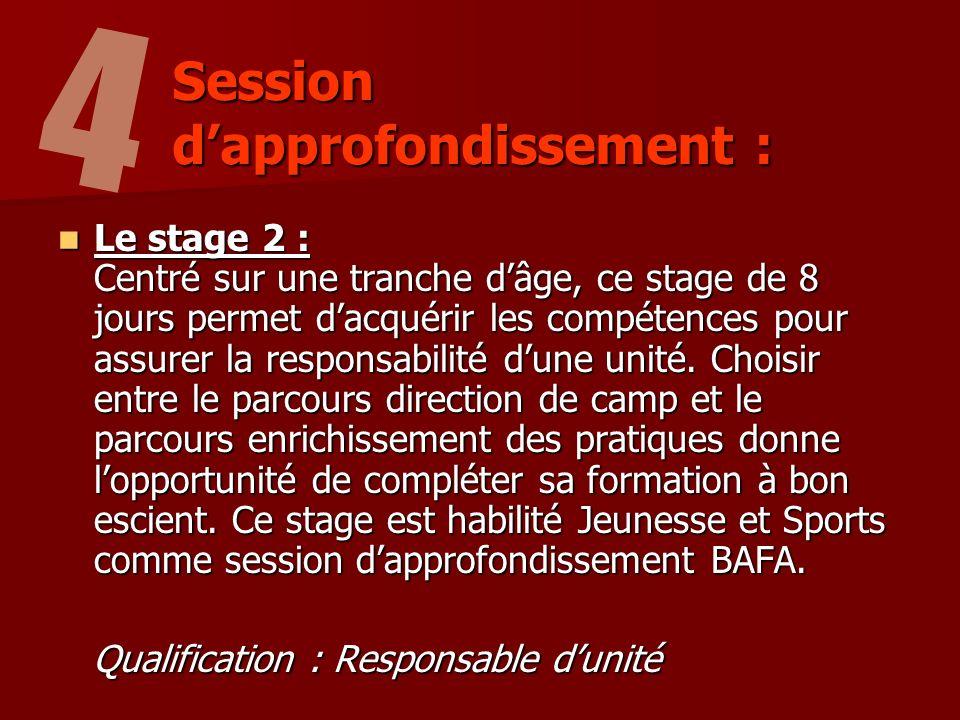 Le stage 2 : Centré sur une tranche dâge, ce stage de 8 jours permet dacquérir les compétences pour assurer la responsabilité dune unité.