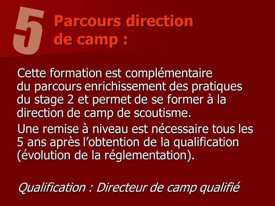 Cette formation est complémentaire du parcours enrichissement des pratiques du stage 2 et permet de se former à la direction de camp de scoutisme.