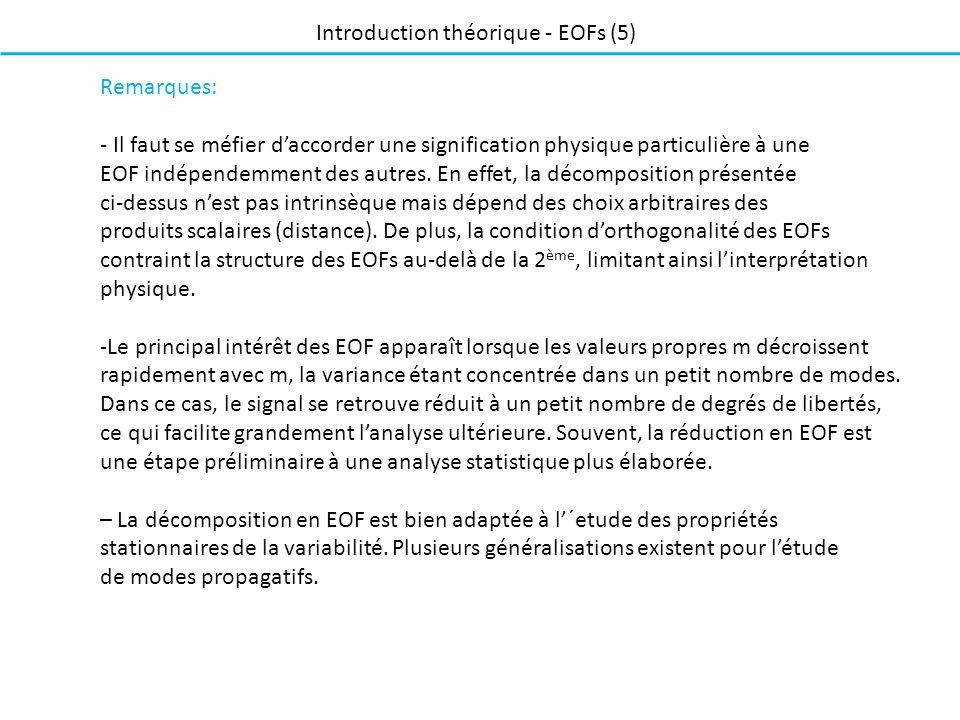 Remarques: - Il faut se méfier daccorder une signification physique particulière à une EOF indépendemment des autres. En effet, la décomposition prése