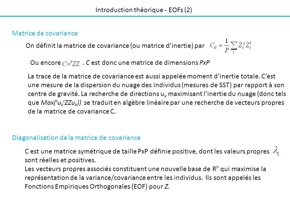 Introduction théorique - EOFs (2) On définit la matrice de covariance (ou matrice dinertie) par Matrice de covariance La trace de la matrice de covariance est aussi appelée moment dinertie totale.