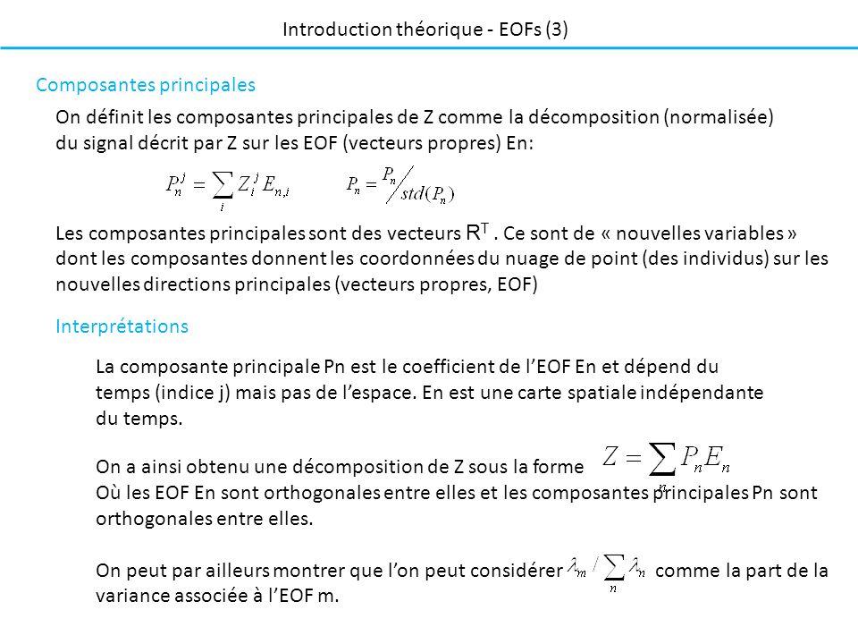 On définit les composantes principales de Z comme la décomposition (normalisée) du signal décrit par Z sur les EOF (vecteurs propres) En: Composantes