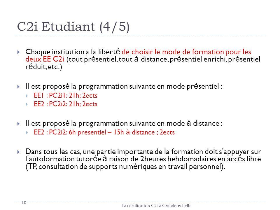 C2i Etudiant (4/5) 10 Chaque institution a la libert é de choisir le mode de formation pour les deux EE C2i (tout pr é sentiel, tout à distance, pr é