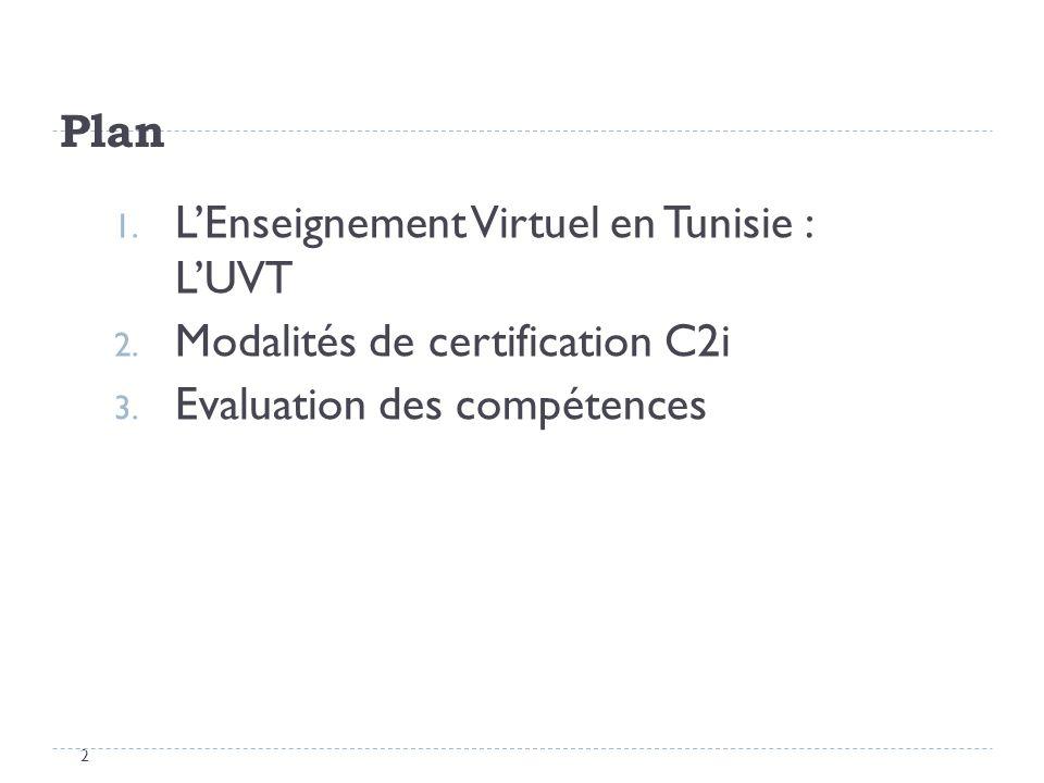 Plan 2 1. LEnseignement Virtuel en Tunisie : LUVT 2. Modalités de certification C2i 3. Evaluation des compétences