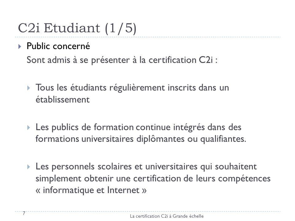C2i Etudiant (1/5) Public concerné Sont admis à se présenter à la certification C2i : Tous les étudiants régulièrement inscrits dans un établissement