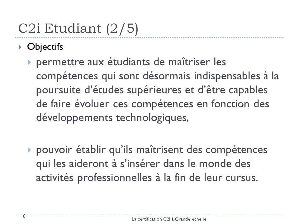 C2i Etudiant (2/5) Objectifs permettre aux étudiants de maîtriser les compétences qui sont désormais indispensables à la poursuite détudes supérieures