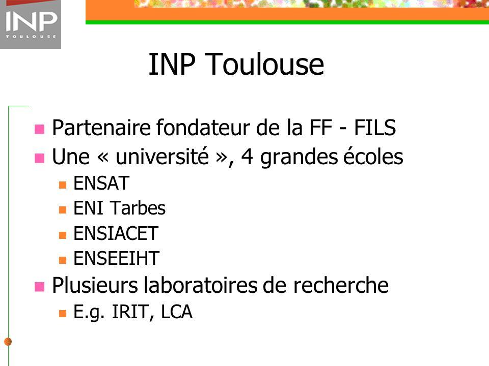 INP Toulouse Partenaire fondateur de la FF - FILS Une « université », 4 grandes écoles ENSAT ENI Tarbes ENSIACET ENSEEIHT Plusieurs laboratoires de re