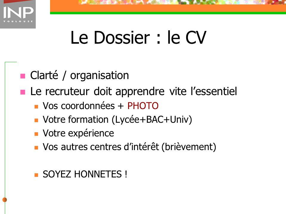 Le Dossier : le CV Clarté / organisation Le recruteur doit apprendre vite lessentiel Vos coordonnées + PHOTO Votre formation (Lycée+BAC+Univ) Votre ex