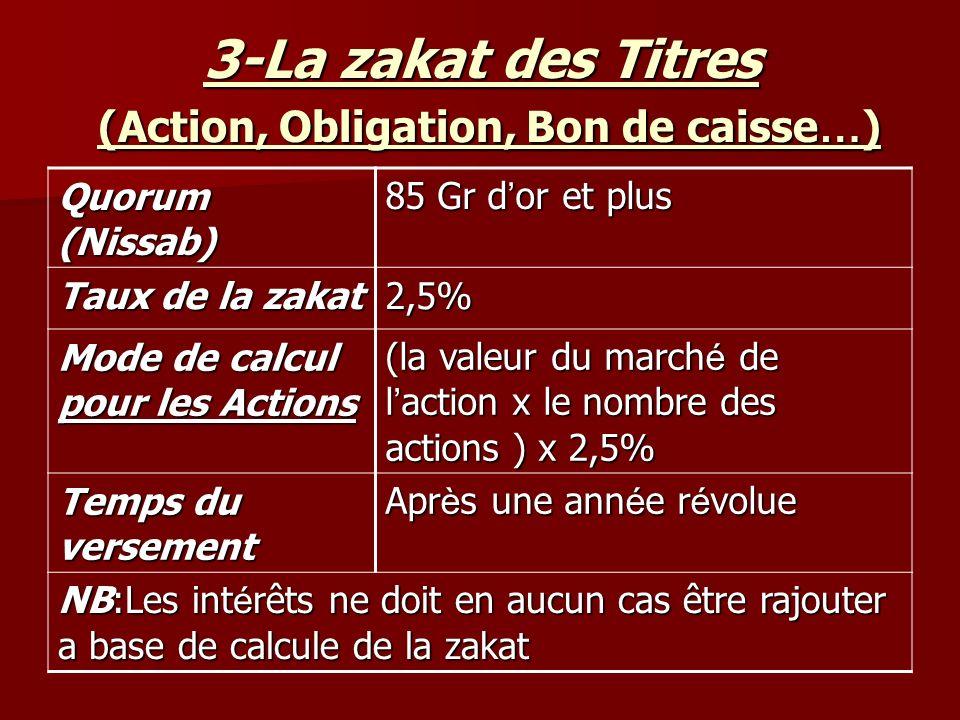 3-La zakat des Titres (Action, Obligation, Bon de caisse … ) 85 Gr d or et plus Quorum (Nissab) 2,5% Taux de la zakat (la valeur du march é de l action x le nombre des actions ) x 2,5% Mode de calcul pour les Actions Apr è s une ann é e r é volue Temps du versement NB:Les int é rêts ne doit en aucun cas être rajouter a base de calcule de la zakat