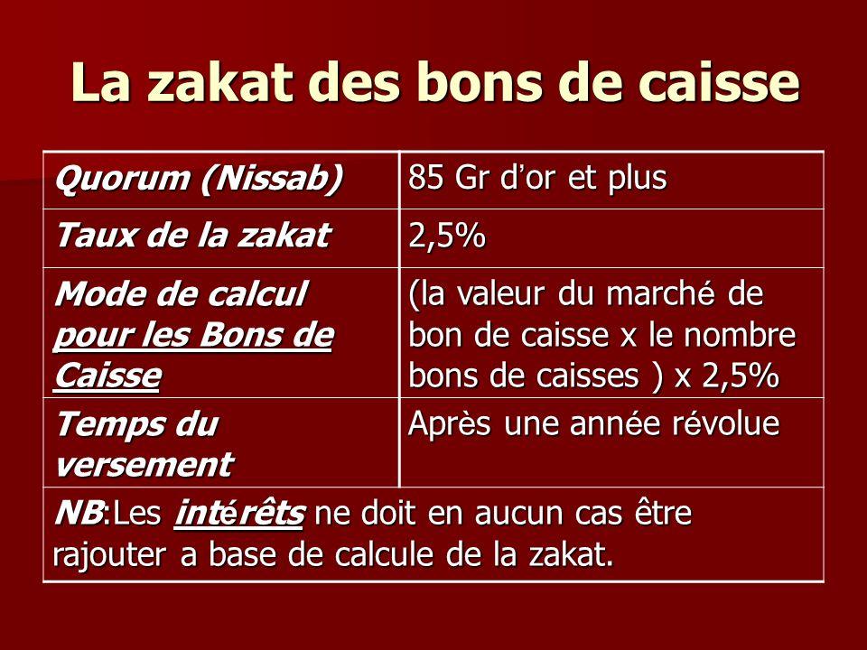 La zakat des bons de caisse 85 Gr d or et plus Quorum (Nissab) 2,5% Taux de la zakat (la valeur du march é de bon de caisse x le nombre bons de caisses ) x 2,5% Mode de calcul pour les Bons de Caisse Apr è s une ann é e r é volue Temps du versement NB:Les int é rêts ne doit en aucun cas être rajouter a base de calcule de la zakat.